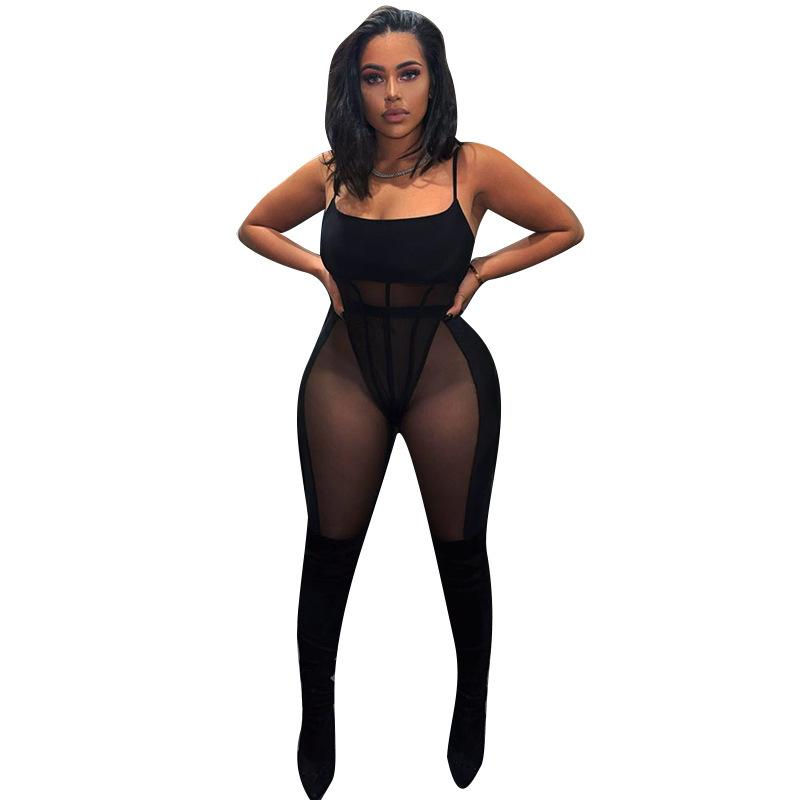 Sexy Frauen Setarben Bodysuit + lange Hose Durchsichtig Durch Sheer Mesh Tracksuit Frauen Party Nacht Outfit F0512