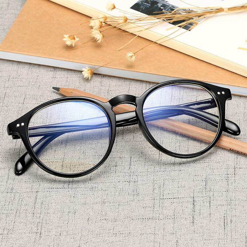 라운드 안티 블루 레이 렌즈 안경 도트 장식 선글라스 프레임 남성 방사선 저항 컴퓨터 가스 블루 라이트 블로킹 클리어 안경 프레임 여성을위한