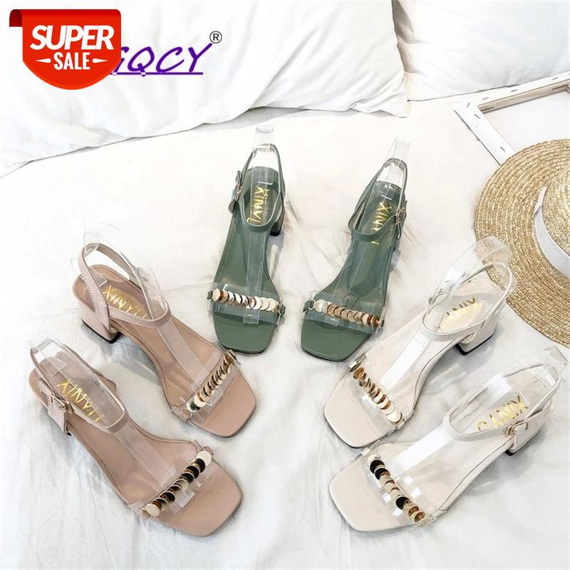 2019 New 6CM High heel sandals buckle Strap Women's Thick with Bling Patent leather Word Open toe shoes #Ps0K