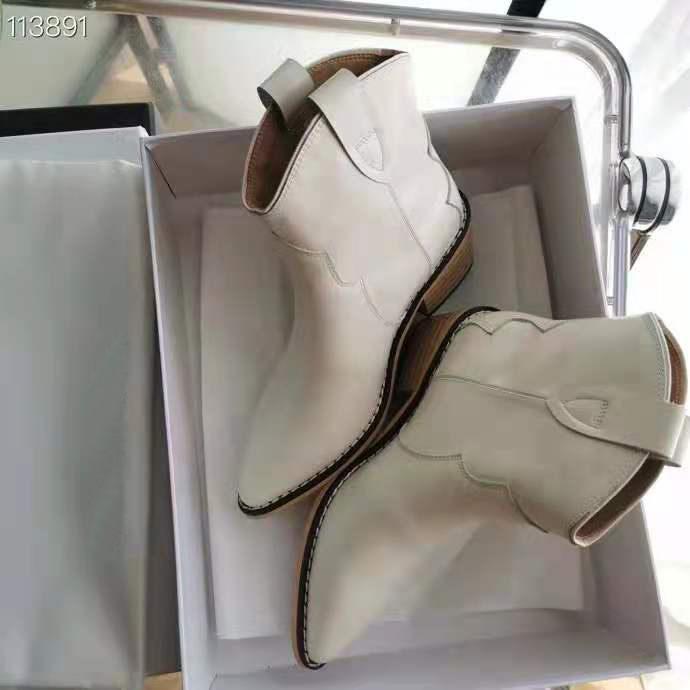 Beyaz Isabel Paris Marant Ayak Bileği Çizmeler Hakiki Deri Dewina Defil Show Podyum Ayakkabı