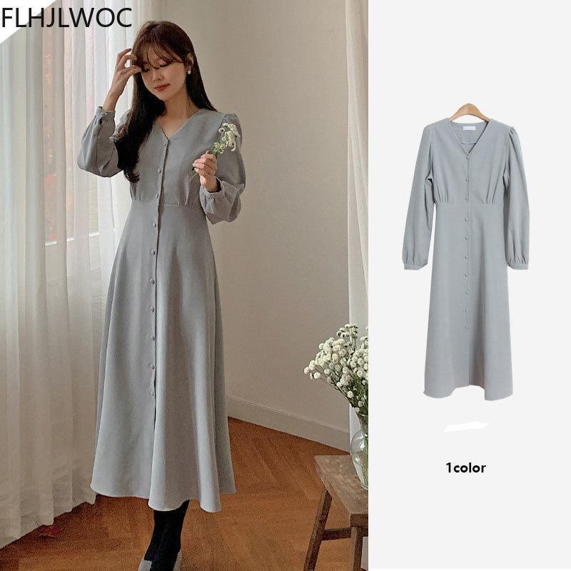 2021 Cuaresma de Fenimine Vestidos Mujeres Moda Corea Chic Japón Estilo V-Cuello Single Button Button Elegante Camisa larga Jurk