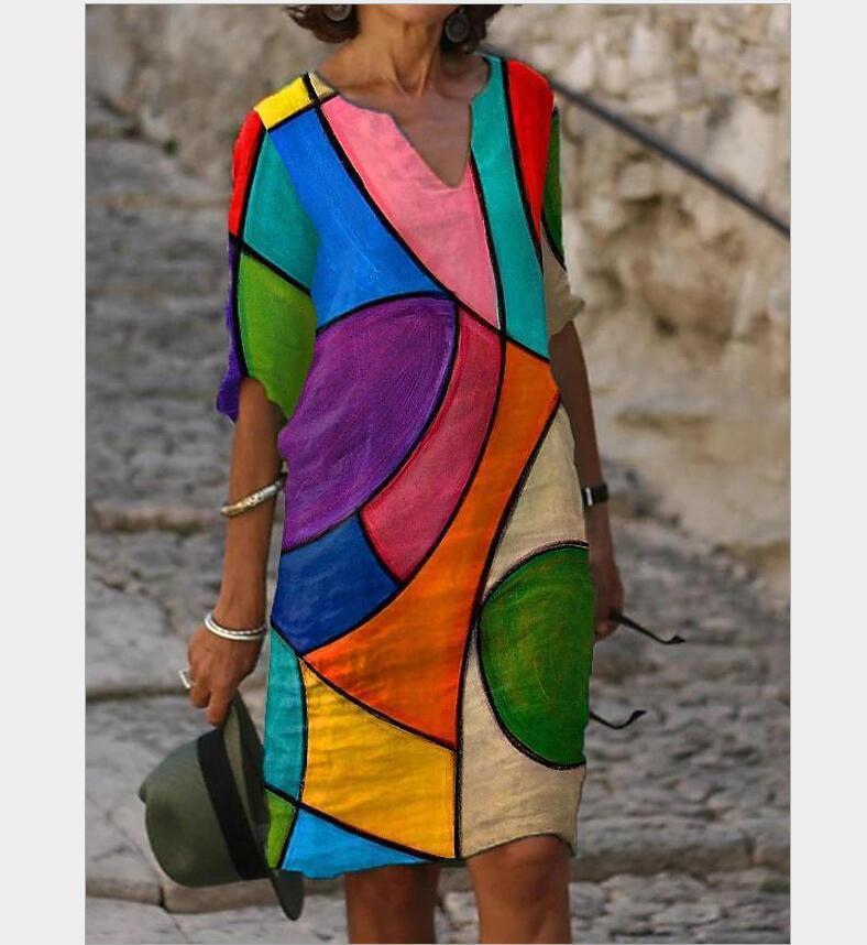2021 nuevas mujeres imprimiendo verano cuello en v media mouwen a-line retro de mujer litera vintage pérdida vestigio vestidos