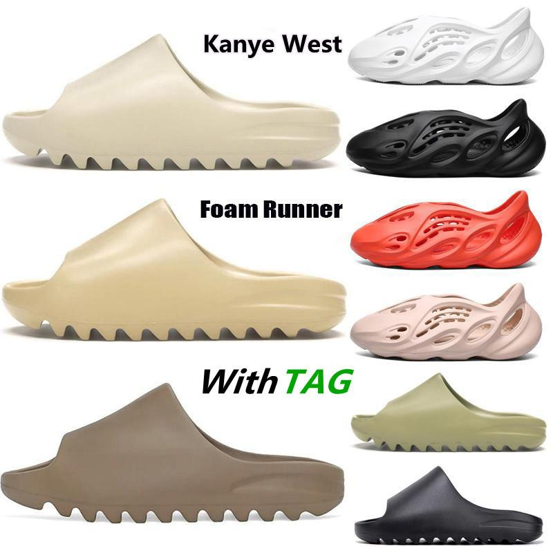 Kanye 2021 NUEVO diapositivas zapatillas espuma corredor desierto arena triple negro hueso blanco resina sólido sandalia moda mujer hombre zapatilla tamaño 36-45