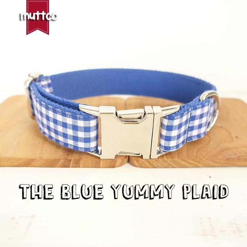 10pcs / lot Muttco Großhandel Self-Design Hohe Qualität Stoufshalsband Die blauen leckeren plaidablastbaren Hundekragen 5 Größen UDC046 LEASHES