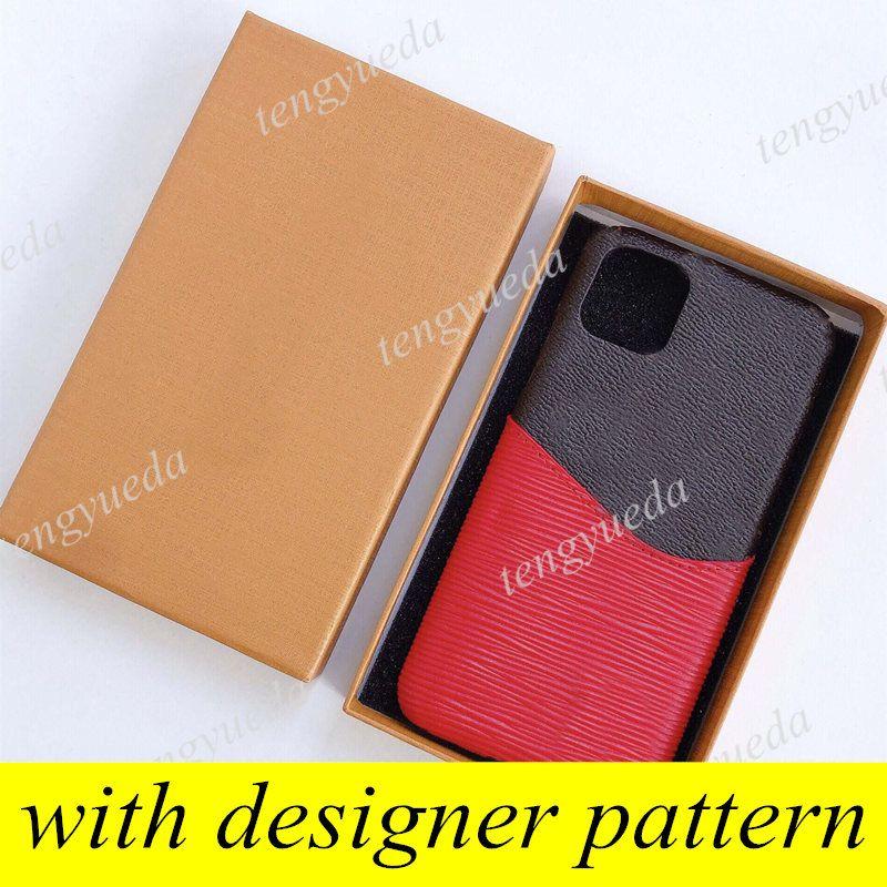 مصمم الأزياء براون زهرة الحالات الهاتف لآيفون 12 11 برو ماكس XS XR XSMAX 7 8 زائد الجلود المرقعة بطاقة جيب الهاتف المحمول غطاء مع سامسونج note20 note10 S20 S10