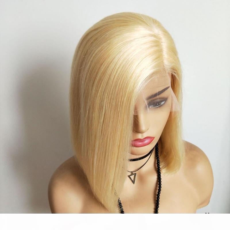 Ombre T 613 Color BOB Wig 130% Lace Front Human Hair Wigs Brazilian Remy Straight BOB Hair Transparent Lace Pure Blonde Wig