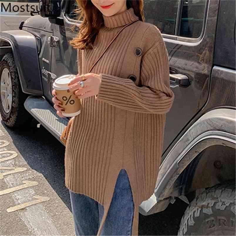 Pulsanti a collo alto Pulsanti a maglia Pull pullover Donne Inverno Solido Solido Addensare Addensanti Spaccatura Maglione femminile di base Top femme 210513