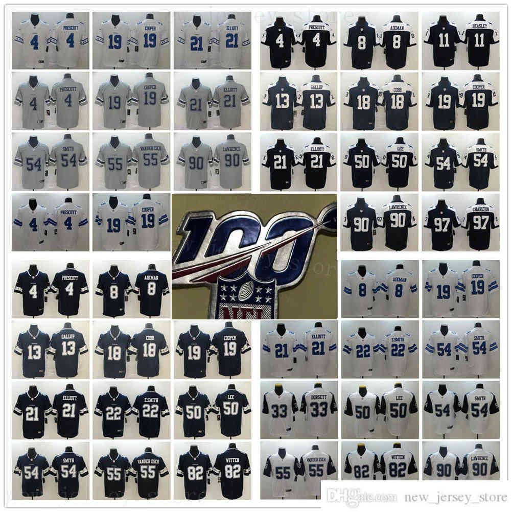 Stitched 100 StitchedDallacowboyFootball Jersey 4 Dakprescott 21 Ezequielliott 19 Amaricooper 55 Leightonvander 100th Anniversary Patch Jerseys