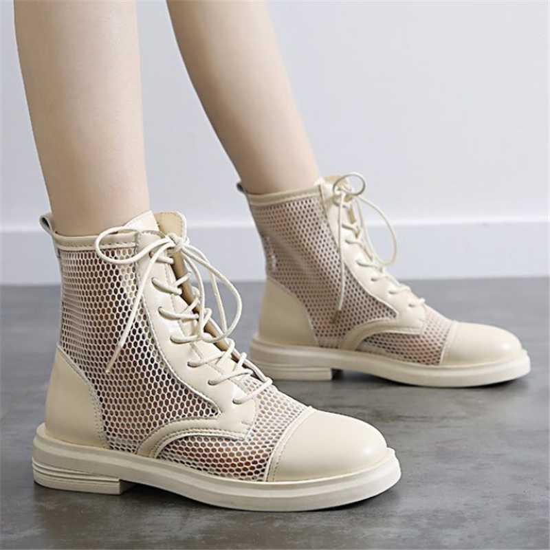 Boots Spring Summer Women Black Beige Breathable Openwork Mesh Classic British Style Trend High Top Casual Girl Shoes