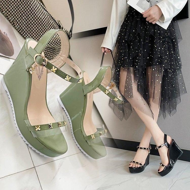 Luxury Dress Shoes 2021 Summer Sexy Ultra-high Slope Heel Sandals Liuding One-line with Waterproof Platform Thick Bottom Open Toe Women's