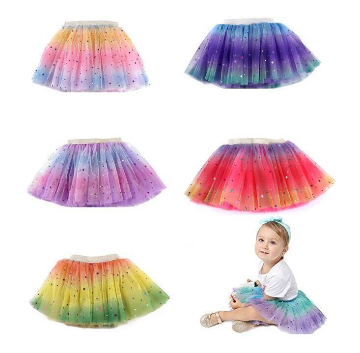 Multicolor niños niñas tutu faldas de cumpleaños Malla de cumpleaños Princesa Mini vestido Partido Tulle puntiagudo Star Rainbow Rendimiento Falda