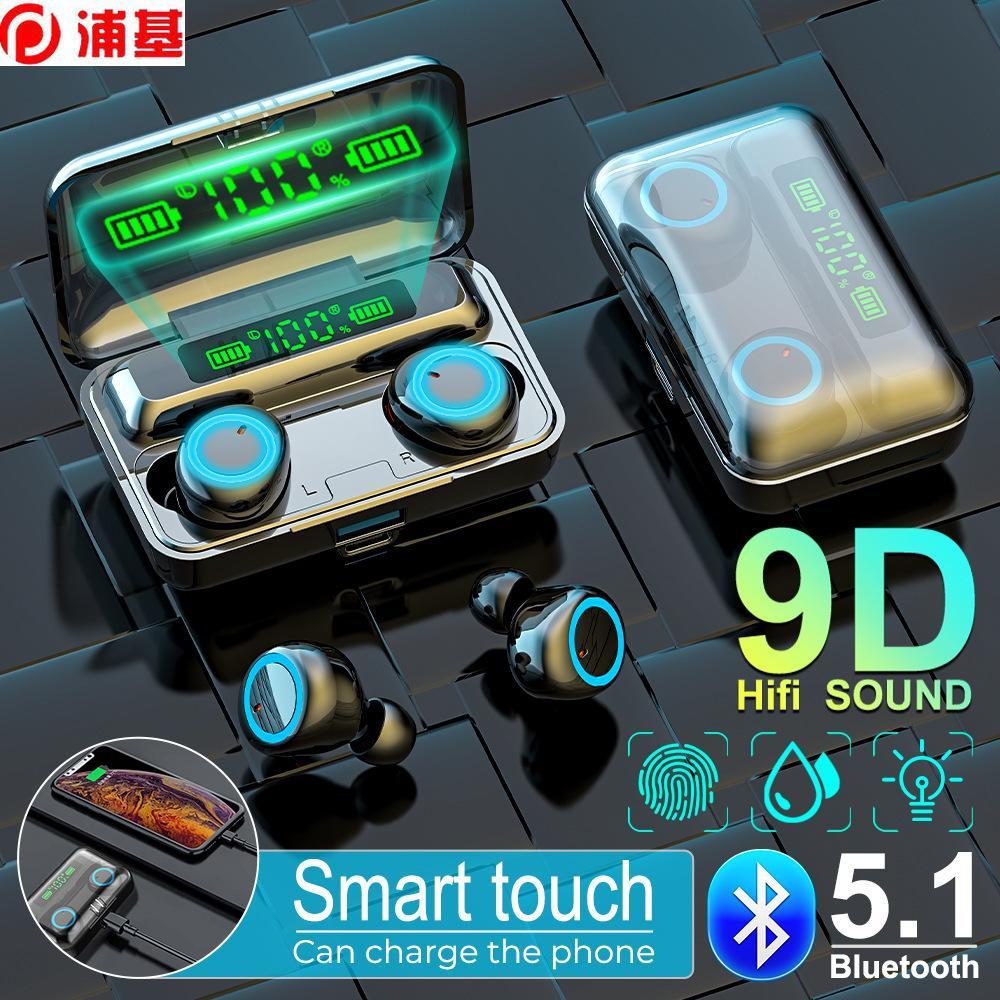 Auricolari Bluetooth 9D TWS 5.1 Cuffie wireless a cuffie wireless 2800mAh Display batteria Gaming Earbuds Mic Auricolare per iPhone Xiaomi Huawei