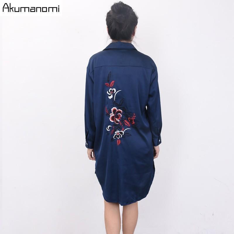 المرأة البلوزات قمصان الخريف الأبيض الأزرق قميص بدوره أسفل طوق الأزهار التطريز الحرير بلوزة المرأة الملابس الربيع قمم طويلة زائد الحجم 7xl