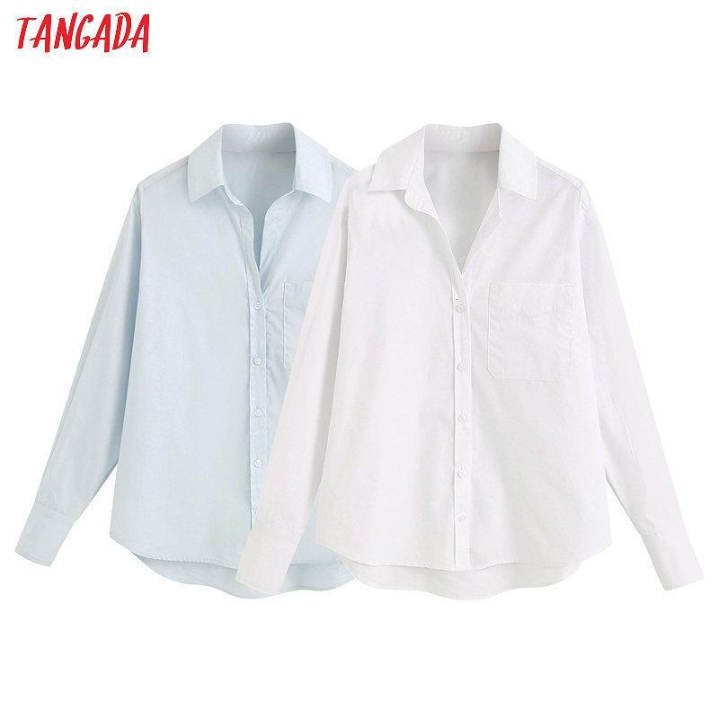 Tangada женщины базовые твердые белые рубашки с длинным рукавом твердые элегантные офисные дамы рабочие носить блузки 6z01 201202
