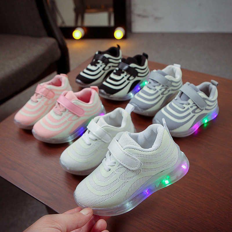 Kids Fashion New Children Sneakers Infant Toddler Girls Light Led Luminous Sport Running Boys Shoes 15m-7y/ Spring Autumn Cs03 Q0629