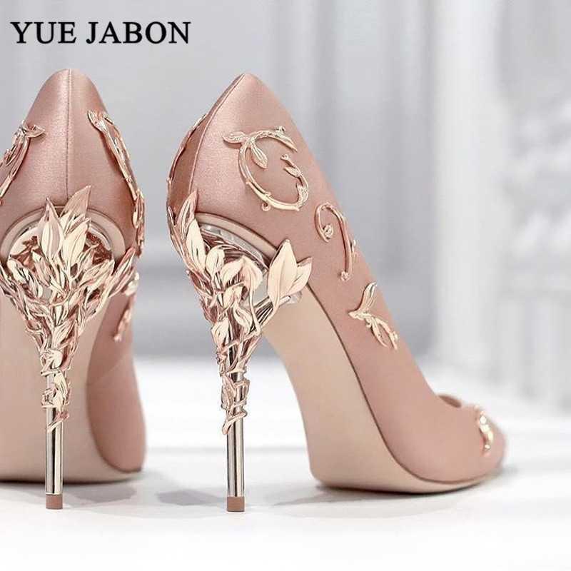 Elegantes mujeres de seda bombas de hojas tacones altos tacones flor zapatos de boda diseño de marca zapatos de punta puntiagudo mujer tacón alto 210204