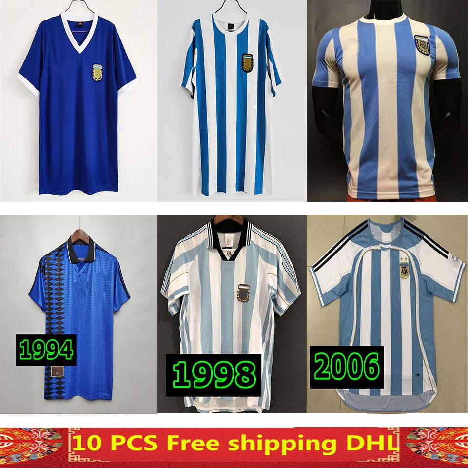 1998 1999 1986 1978 1994 Argentinien Retro Fußball Jersey Vintage Classic 96 98 99 Maradona Diego Simeone Batistuta Ortega Crespo