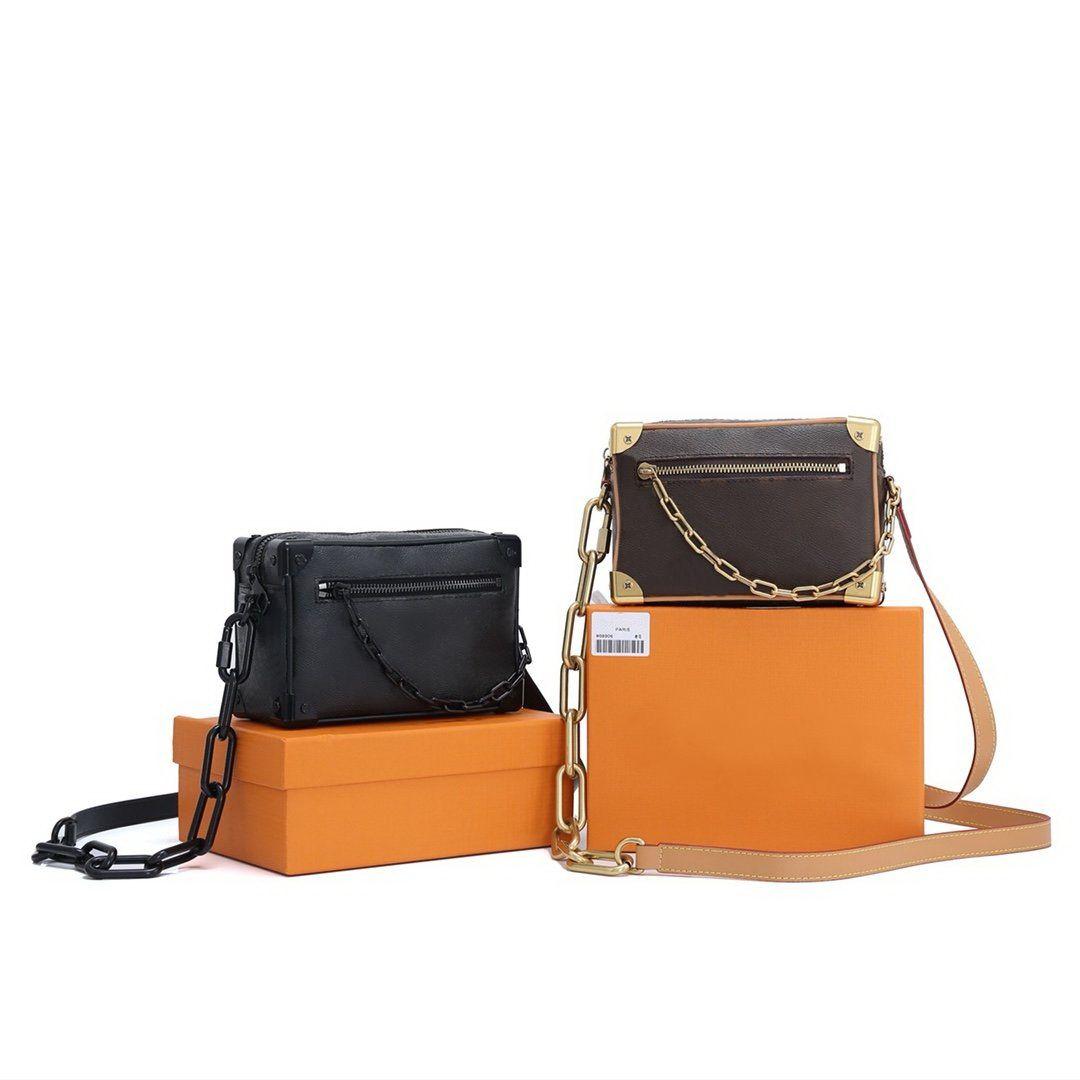 Designer Luxurys Soft Tronco a spalla Borse a tracolla Vecchio fiore in pelle da uomo / Catena di moda per donna Crossbody Messenger Bag Famoso Brand Ladies Borse