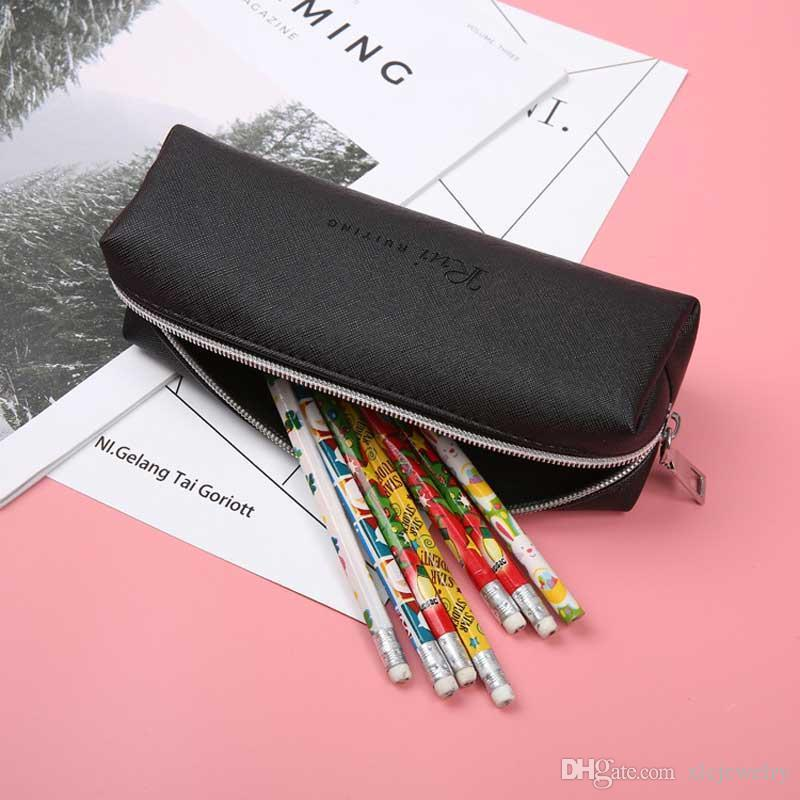 Leather Pencil Case Simple Black High Capacity Business Pencilcase For Kids School Office Gift Supplies Creative Stationery