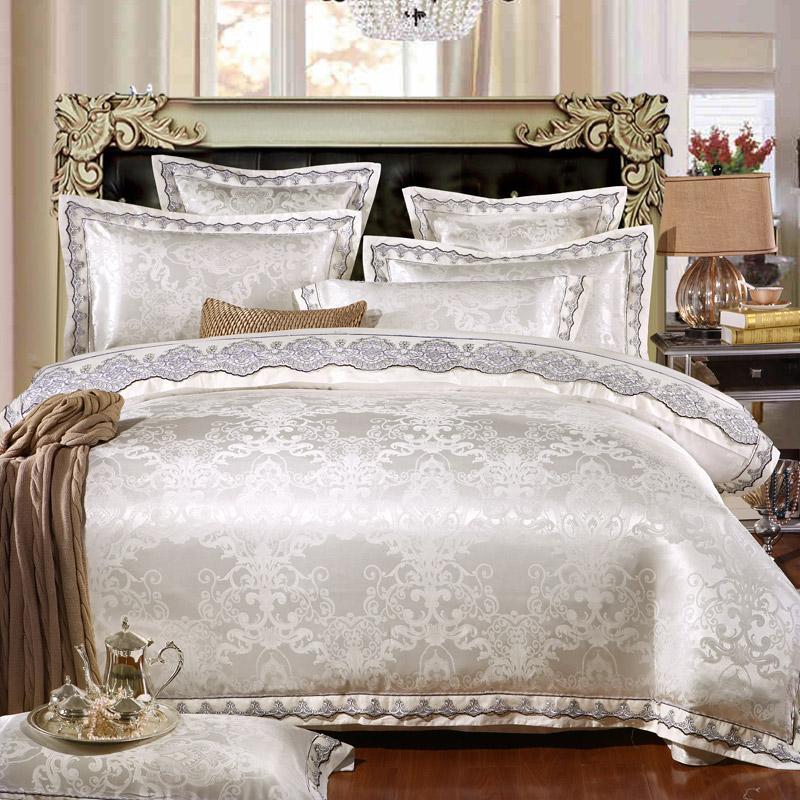 Yatak Takımları Lüks JuteCell Saten Jakarlı Ipek Set Pamuk Dantel Tencel Yatak Levha Yatak Örtüsü Kapak4 / 6 adet Kraliçe / Kingsize
