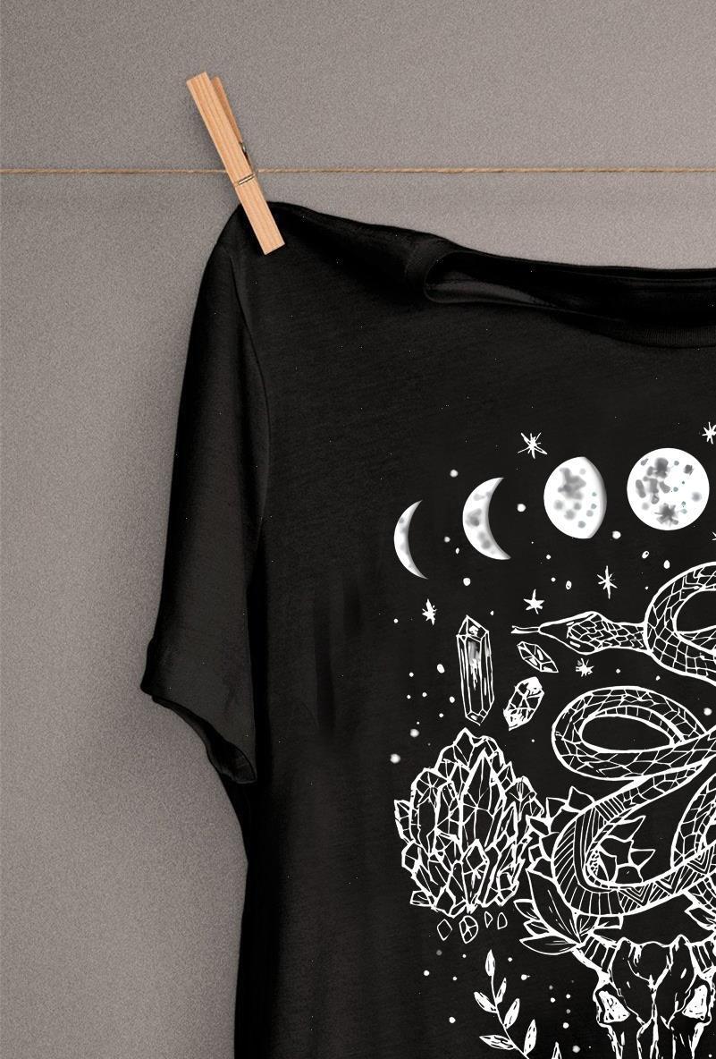 Moon Womens Tops Phasen, Schlangen und Kristalle Hexy Design T-shirt Kühle Gothic T-Shirt Hipster Punk Drop