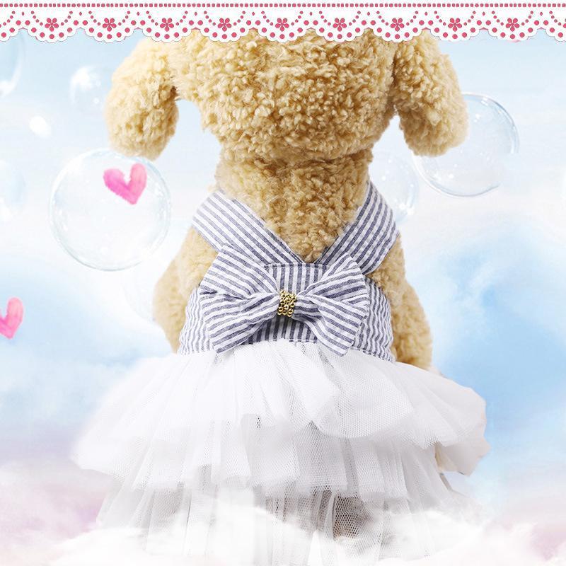 Hundebekleidung Sling Kleid Sommer Spitze Tullle Haustier Kleidung für kleine Party Geburtstag Hochzeit Bowknot Welpen Kostüm