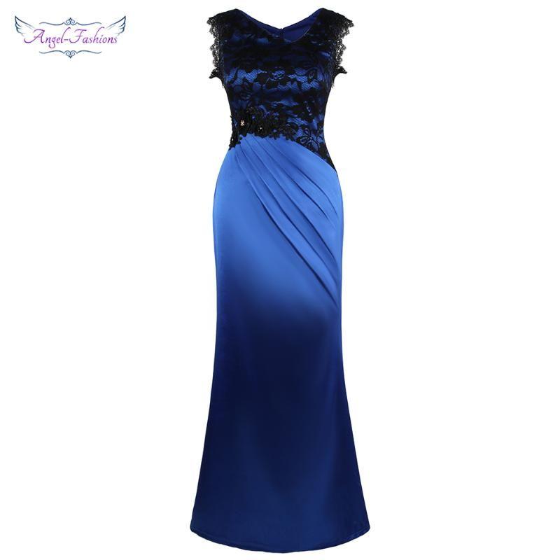 천사 - 패션 여성 민소매 꽃 레이스 주름진 이브닝 드레스 긴 바디 콘 파티 로얄 블루 W-191117 드레스