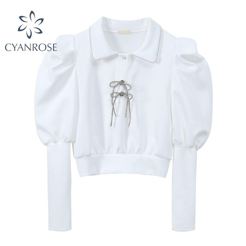 Chic Crop Blouses Brownot Elegante soffio a maniche lunghe Camicie Donne Risvolto Bianco Bianco Retro Ins Pullover Bluss Blusas Top 210515
