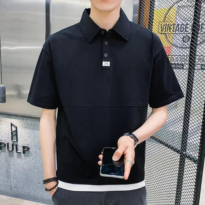 Factory64em Половина короткого половой рубашки в рукавах сплошной цветной базовой рубашки Летняя тенденция Свободная повседневная мужская одежда