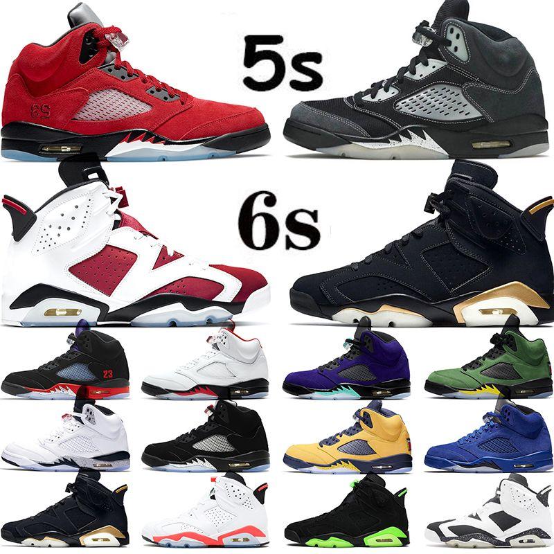 Nike Air Jordan 5 6  tênis casual masculino feminino tênis chaussures preto verde limão azul laranja índigo branco laranja cinza tênis esportivos ao ar livre tamanho 36-44