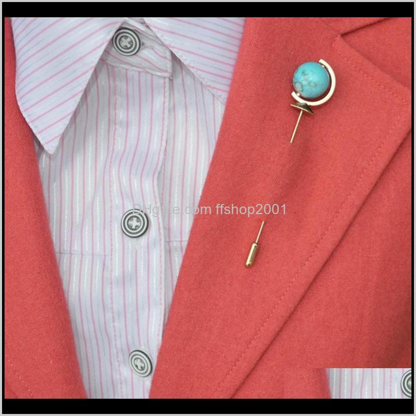Pins, Brooches Jewelryglobe Earth Stick Mens Designer Lapel Brooch Pin Wedding Cocktail Party Men Suit Dress Decoration Boutonniere Bouquet D