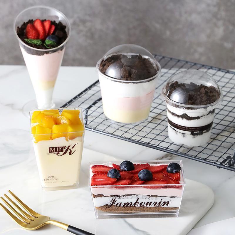 Disposable Cups & Straws 50pcs Net Red Mousse Cup Dessert Yogurt Pudding Baking Party Tiramisu Cake Transparent Plastic Box With Lid