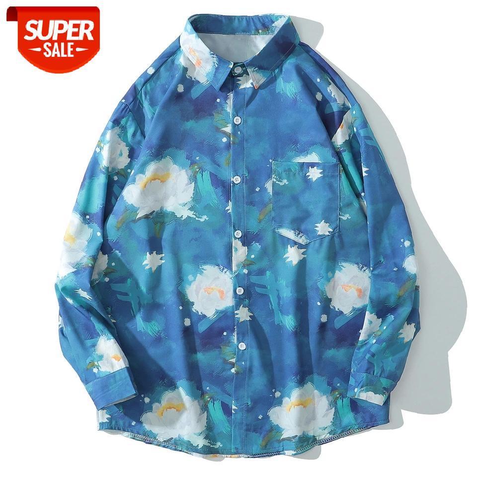 Hip Hop Çiçekler Yağlıboya Baskı Uzun Kollu Gömlek Erkekler Harajuku Streetwear Hawaii Plaj Gömlek Pamuk Büyük Boy Tatil # A20T