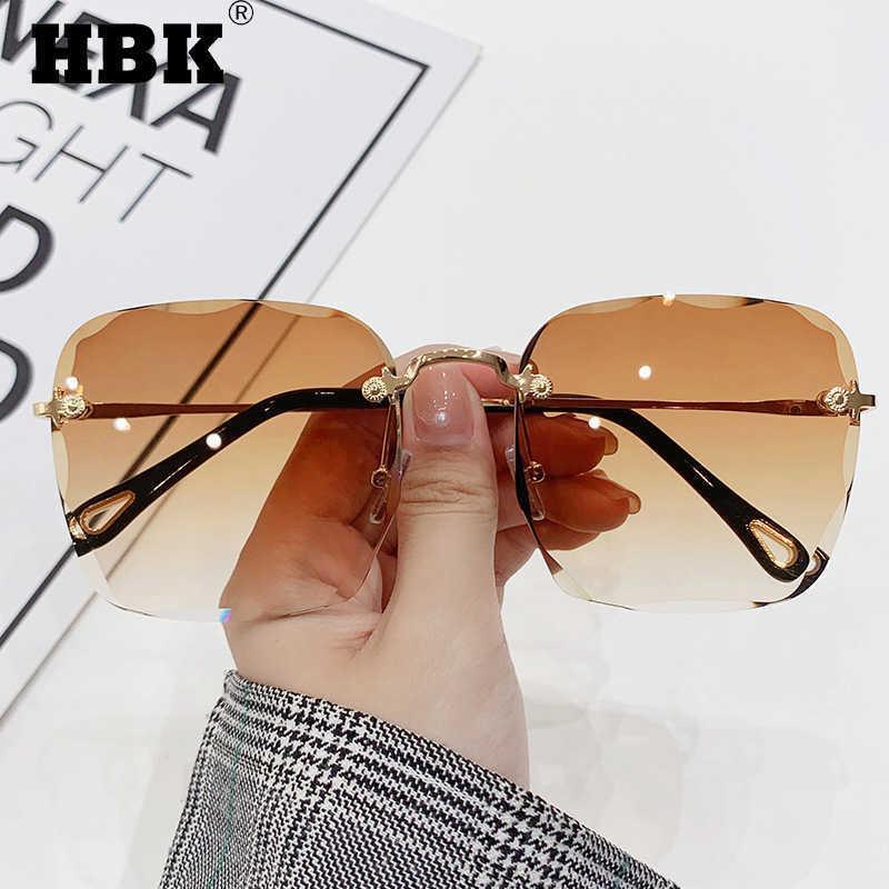 Luxus Randlose Square Sunglasse Männer Vintage Kristall Übergroße klassische Marke Designer Frameless Braun Rosa 210529