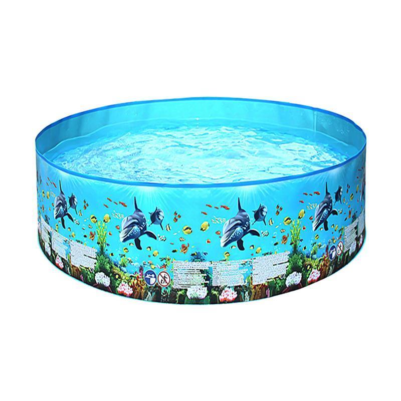Poolzubehör 96,1 * 15in Outdoor Kinder Schwimmen Tragbare faltbare runde Form Pools für Kinder Kleinkinder Sommer Wasser Spiel