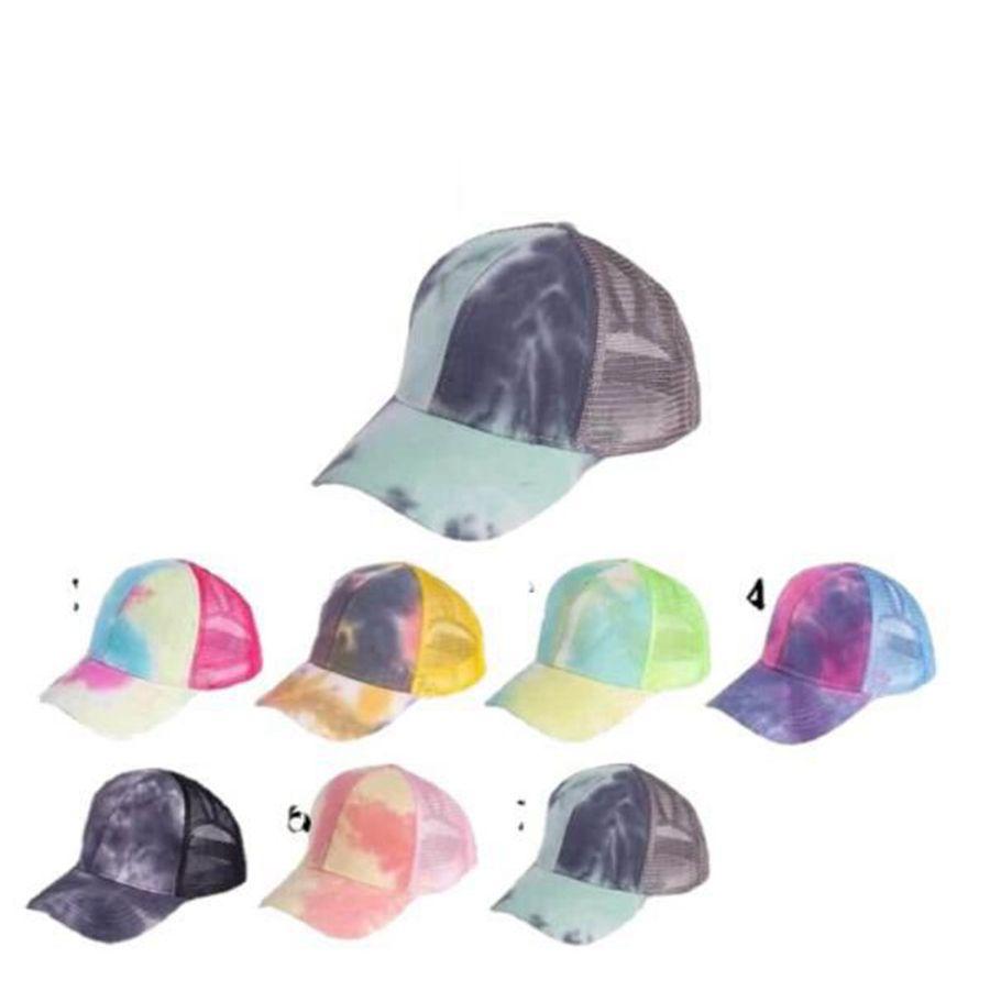 Tie Tintura Boné Boné Criss Snapback Hip Hop Hap de Verão Malha de Verão Chapéu Proteção Sun Girls Caps OOA8328