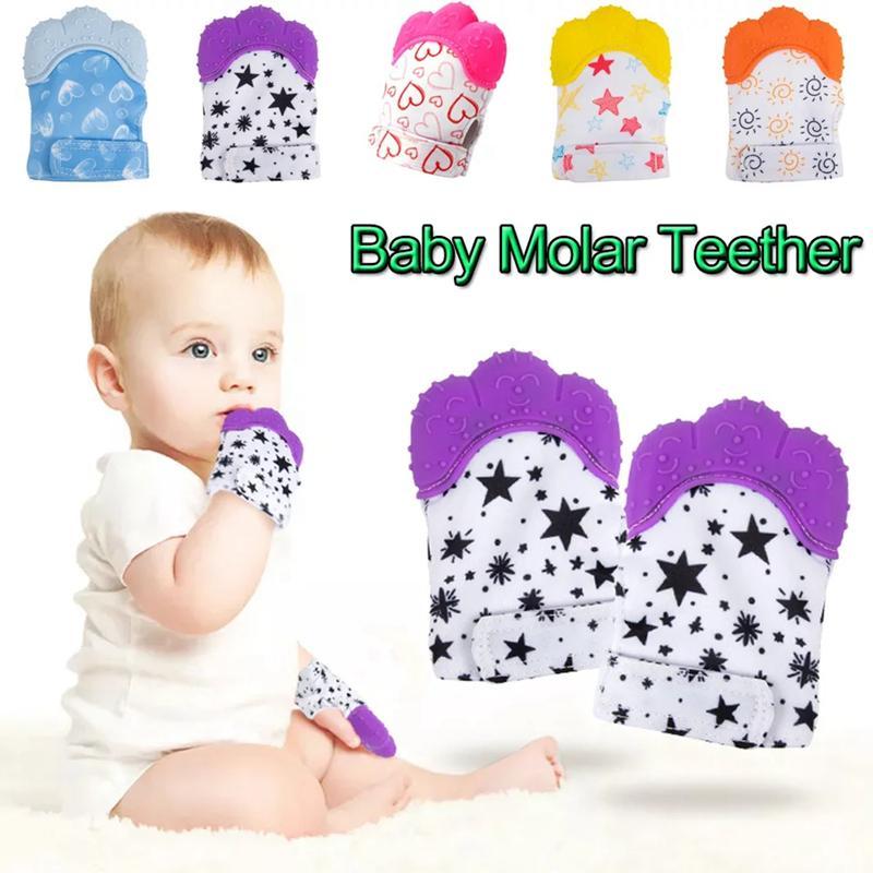 Baby Tehter перчатки скрипучие молотые зубы жевать звуковые игрушки милые зубы детские игрушки новорожденные зубовые туманные туманные туманные игрушки Toys OOD6356