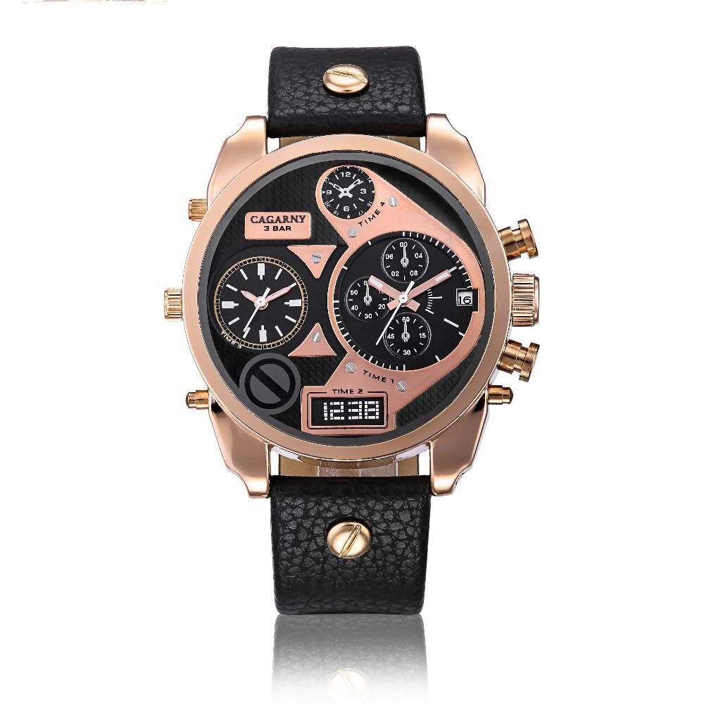 Moda Erkek Kuvars İzle Altın Deri Rahat Iş Saatler Erkekler Büyük Arama Relojes Hombre Montre Homme Horloge Saat
