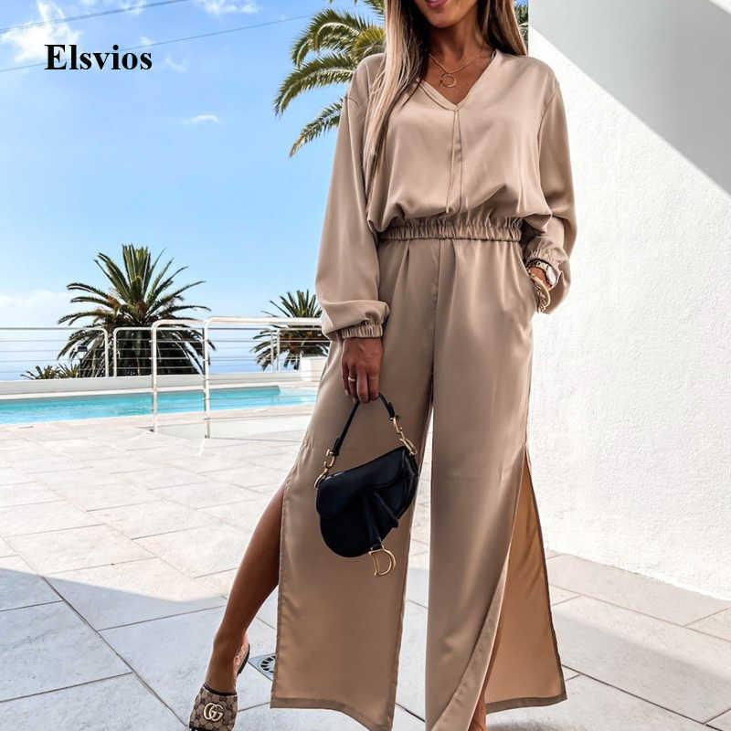 Sexy V Neck Shirt Tops And Split Wide Leg Pants Set Fashion Casual Women Two Piece Set Summer Solid Lady Suit Outfits Streetwear Y0625