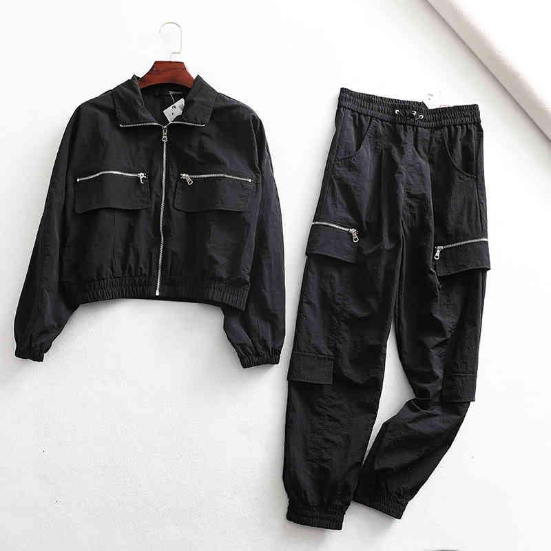 Chaquetas damas Spring Zipper Vintage Abrigo Negro Harajuku Streetwear Stay Chaqueta Mujeres Bolsillos Mujeres Plaid de gran tamaño