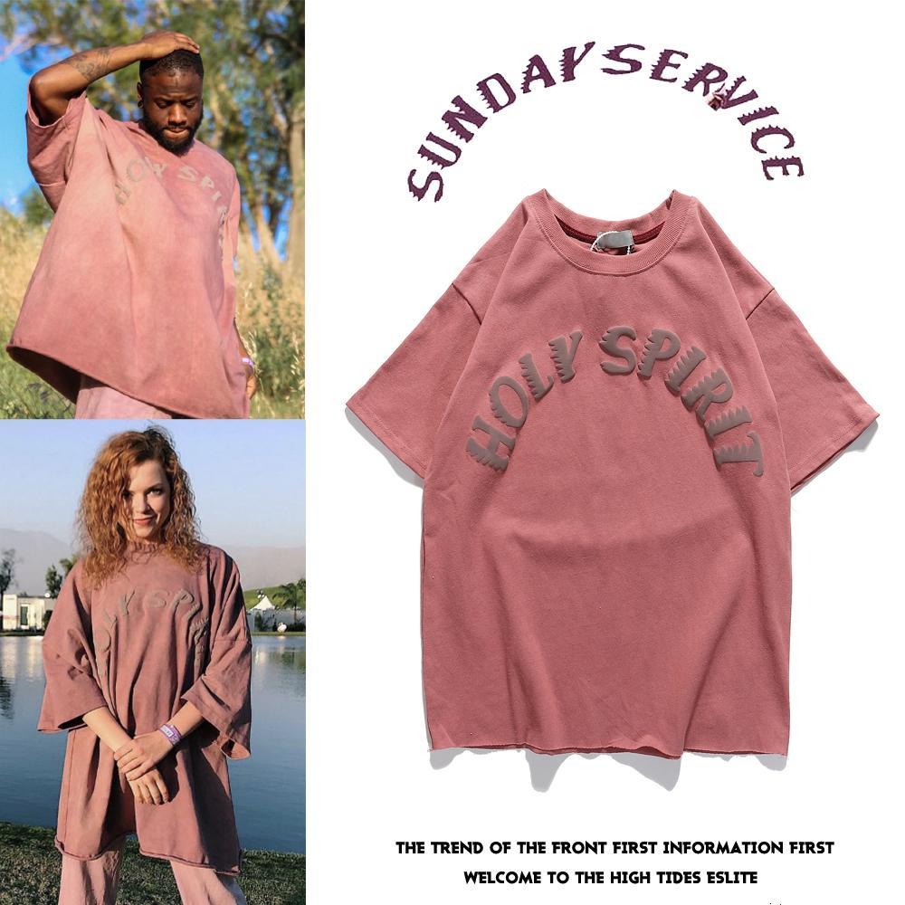 21ss 높은 qaulity 여름 망 디자이너 티셔츠 티셔츠 100 % 코튼 인쇄 성령 캐주얼 커플 반팔 티 남성 여성 편안한 Kanye 티셔츠