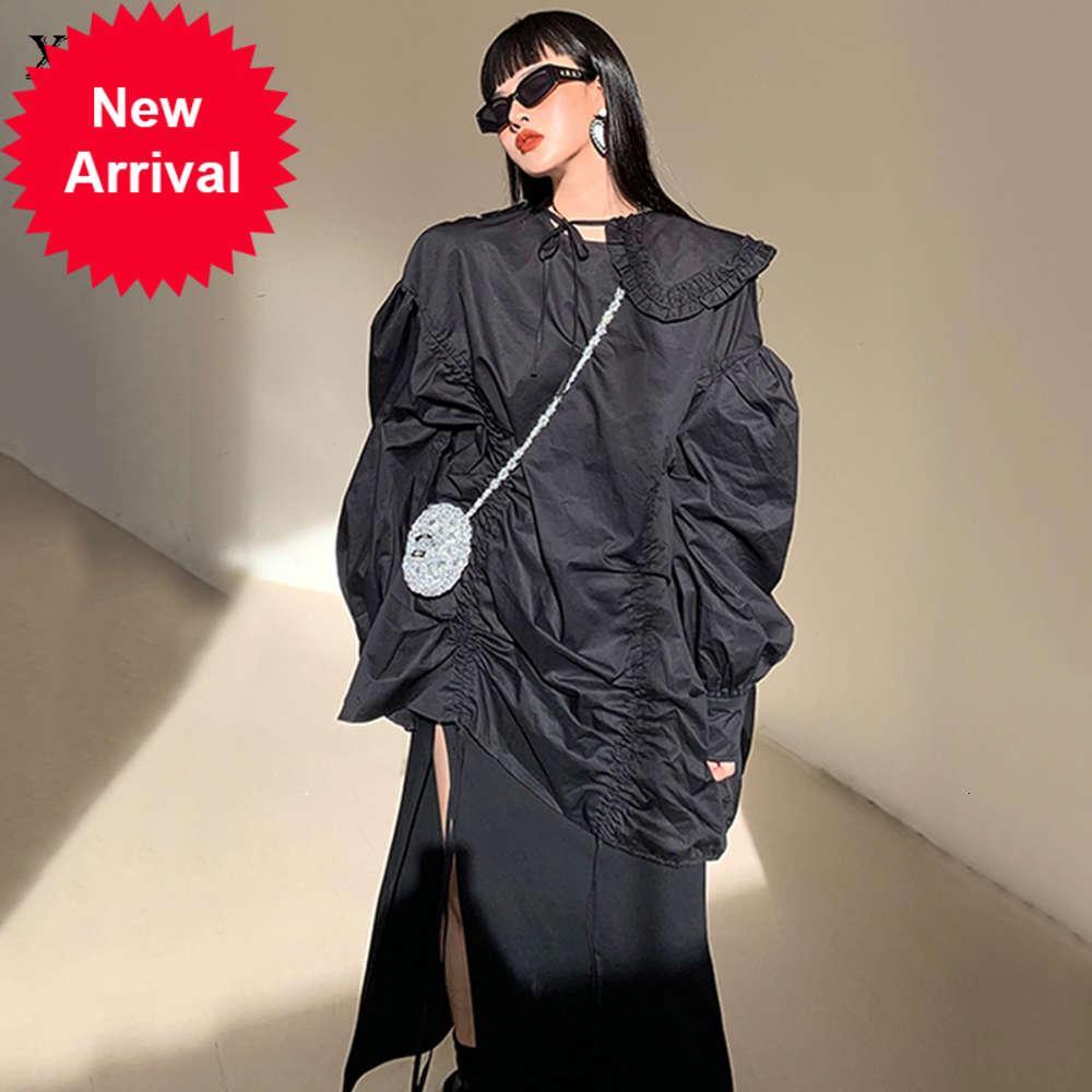 Arco casual volantes blusa mujeres moda moda nuevo estilo Peter pan collar de manga larga jersey vendaje irregular zy3394