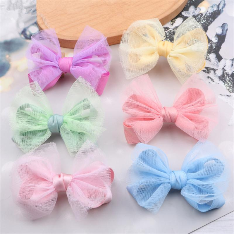 10pcs / lot 소녀 사탕 색 거즈 메쉬 머리 나비 클립 키즈 귀여운 헤어핀 공주 베리렛 활 액세서리