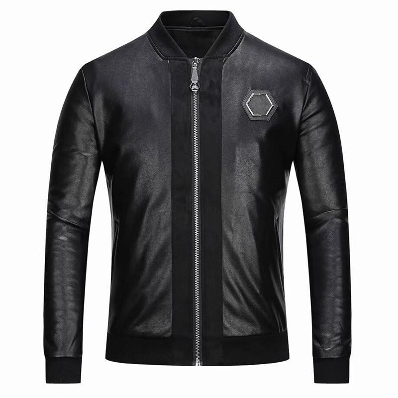 Искусственная кожа дизайнерская куртка мужская молния Slim Fit Короткие хип-хоп повседневный череп спортивный мотоцикл Пальто мотоцикла писем вышивка тигр фитнес человек мода одежда M-3XL