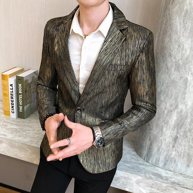 Costumes hommes blazers blazer casier décontracté slim ajustement brillant grain robe de bal mâle coréen style mode solide costume veste vêtements jeunesse
