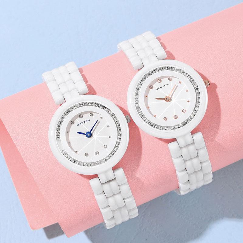 Saatı 2021 varış su geçirmez seramik izle kadınlar için moda zarif bayanlar günlük kuvars beyaz saat montre femme reloj
