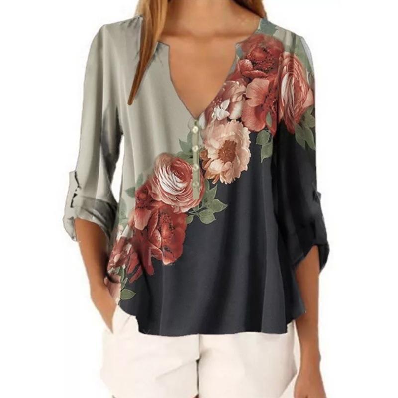Camiseta para mujer 2021 otoño invierno retro moda calle sexy v-cuello floral impresión camisa manga larga casual gasa
