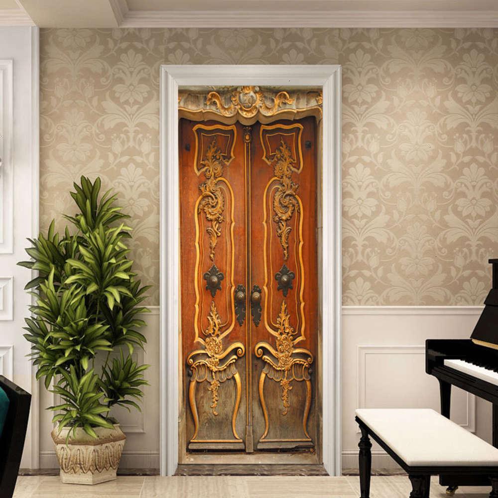 Etiquetas decorativas do ouro do ouro Quarto de madeira da sala de estar da porta europeia da sala da sala impermeável adesivo de parede removível