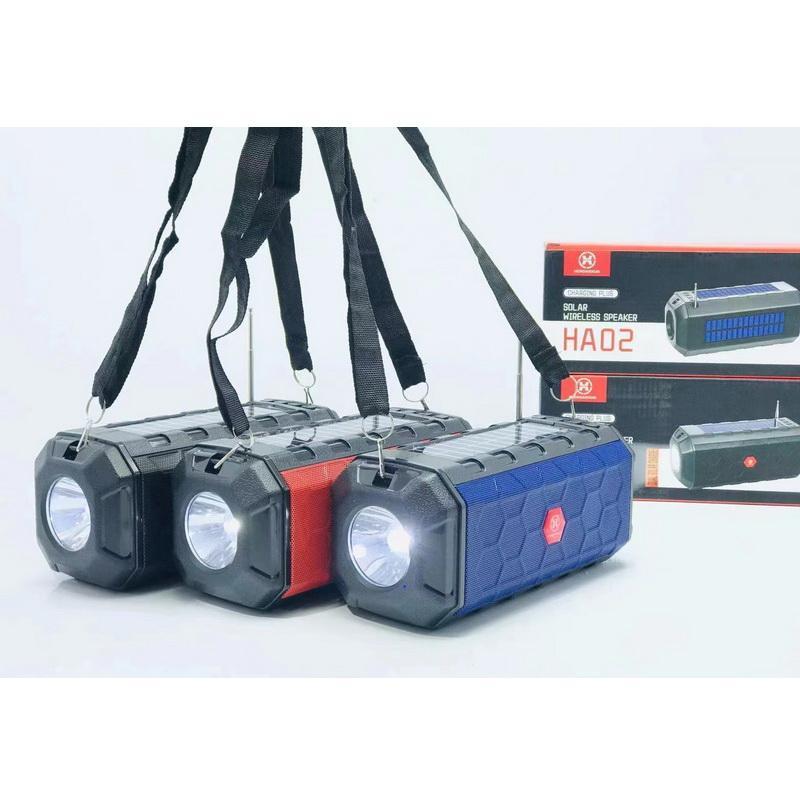 HA02 Belt Outdoor Solar Charging Powered Wireless Speaker Bluetooth Speakers with FM Radio Flashlight TF Card U Disk