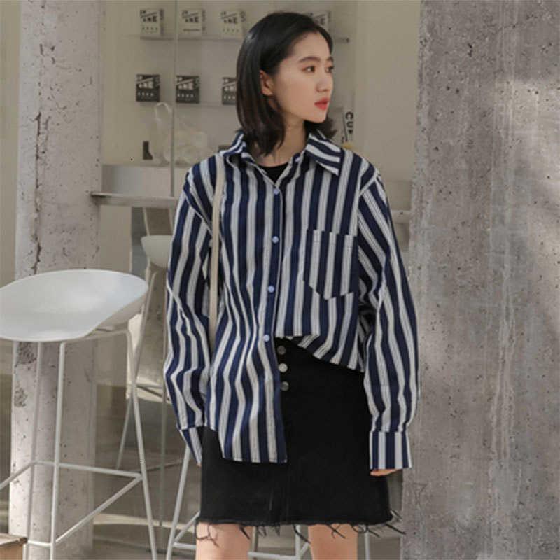 Frauen Blusen Hemden Hemden Herbst Korea Mode Frauen Langarm Lose All-Matched Casual Turn-Down-Kragen Gestreifte Femme Tops HE2N